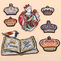 5pcslot vintage beaded embroidery patches letter for clothing garment accessories sew prince diy crystal diamond drill crown