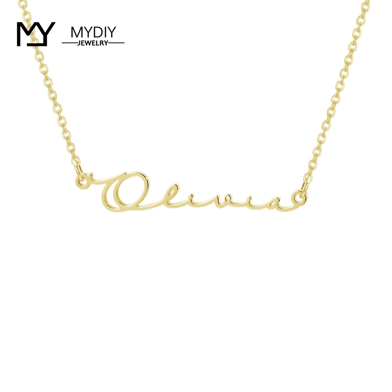 Collar con inscripción personalizada, collar cursivo de Plata de Ley 925, collar de placa de identificación hecho a mano, regalo para mujeres, Gargantilla