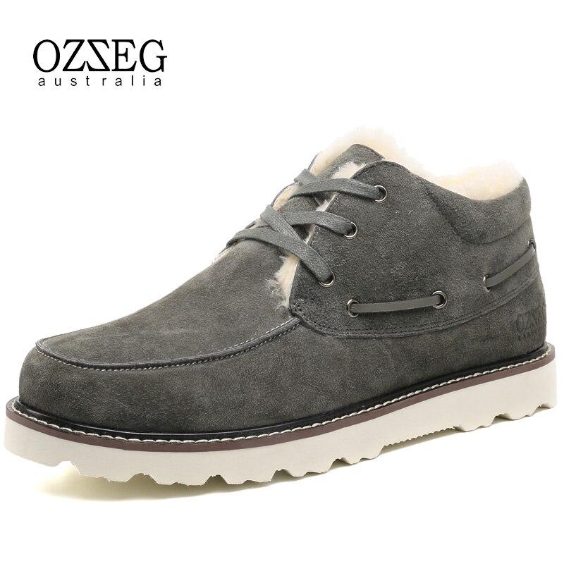 OZZEG marque de luxe classique bottes de neige hommes en cuir véritable australie bottines en fourrure de mouton chaussures dhiver à lacets chaussures OZ0044