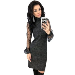 European American New Spring Autumn Popular Women's Retro Lace Long-Sleeved Sexy Straight Dress
