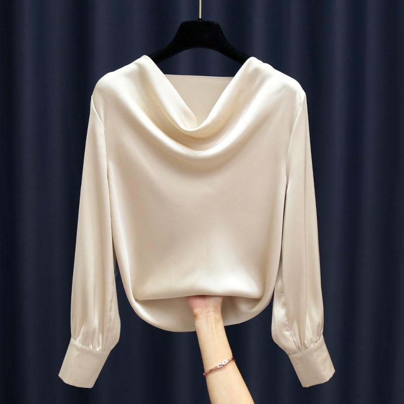 blouse trueprodigy blouse Fashion high-grade airy neckline satin blouse long-sleeved chiffon blouse Plus Size Women Chiffon Blouse Shirt Elegant