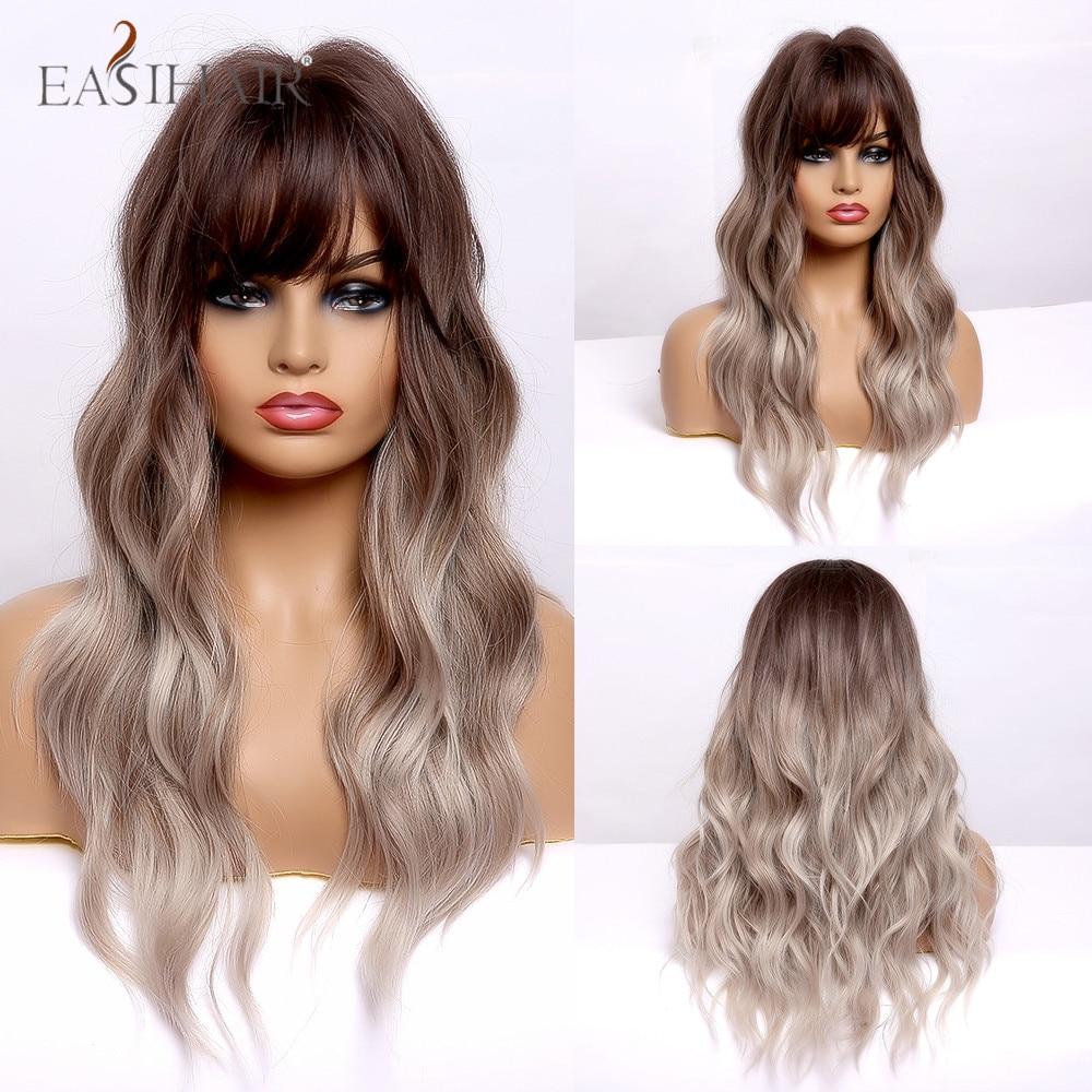 Pelucas de pelo sintético EASIHAIR con ondas largas ombré negro marrón ceniza rubio con explosión resistente al calor Cosplay pelucas naturales para mujeres