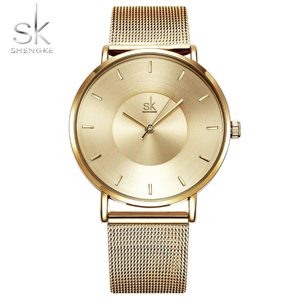 SK Women Watch Dress Stainless Steel Band Analog Quartz Wristwatch Fashion Luxury Ladies Black Rose Gold Watch Clock Analog enlarge