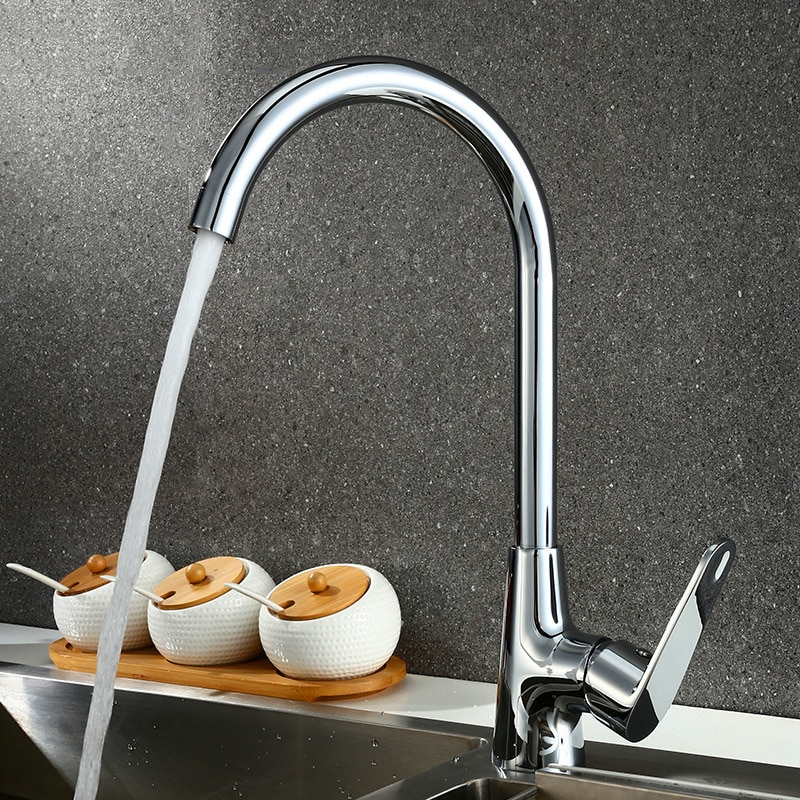 SIANCO Chrome Rotatable Brass Kitchen Faucet Single Hole Hot & Cold Mixer Tap Deck Mounted Besin Sink Faucet sianco single hole cold chrome rotatable brass kitchen faucet deck mounted besin sink faucet tap