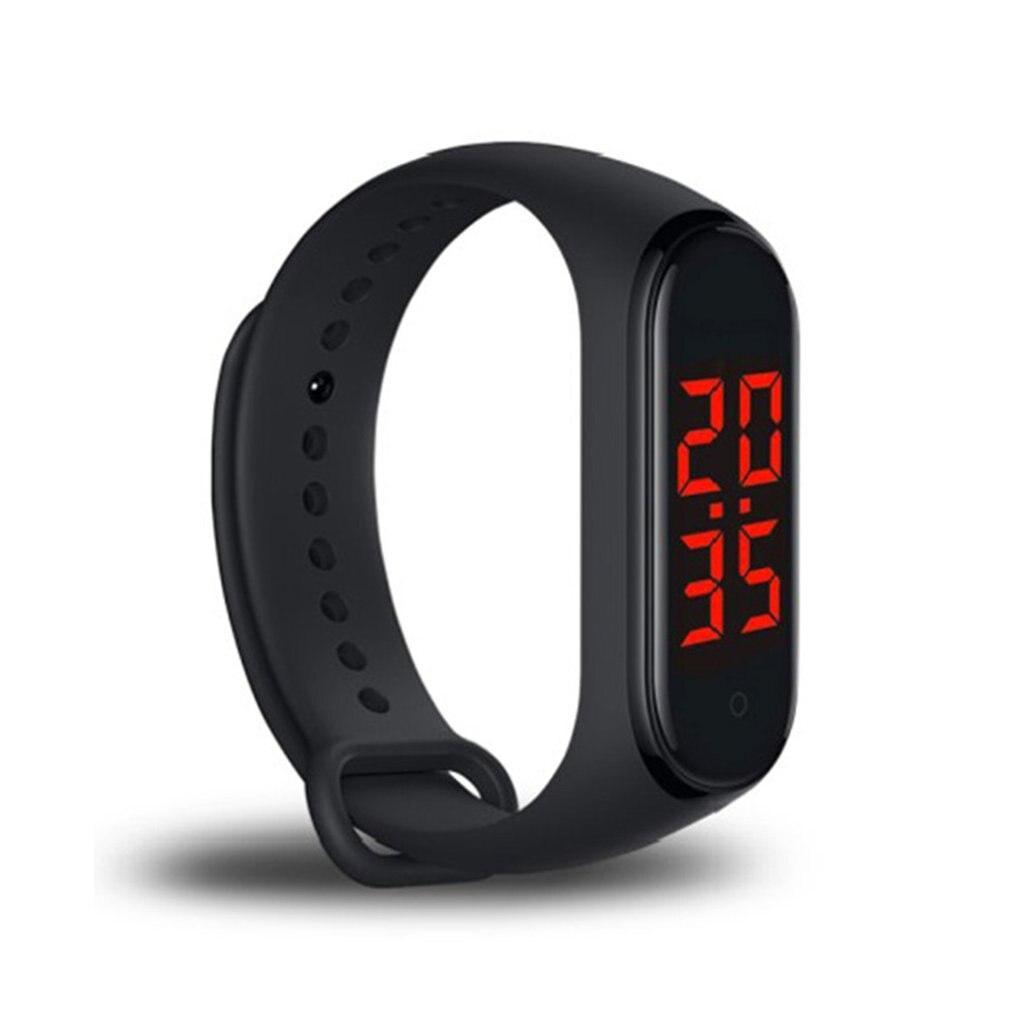2020 nova touch-key relógio inteligente pulseira display temperatura do corpo medida tela led relógio inteligente com exibição de tempo