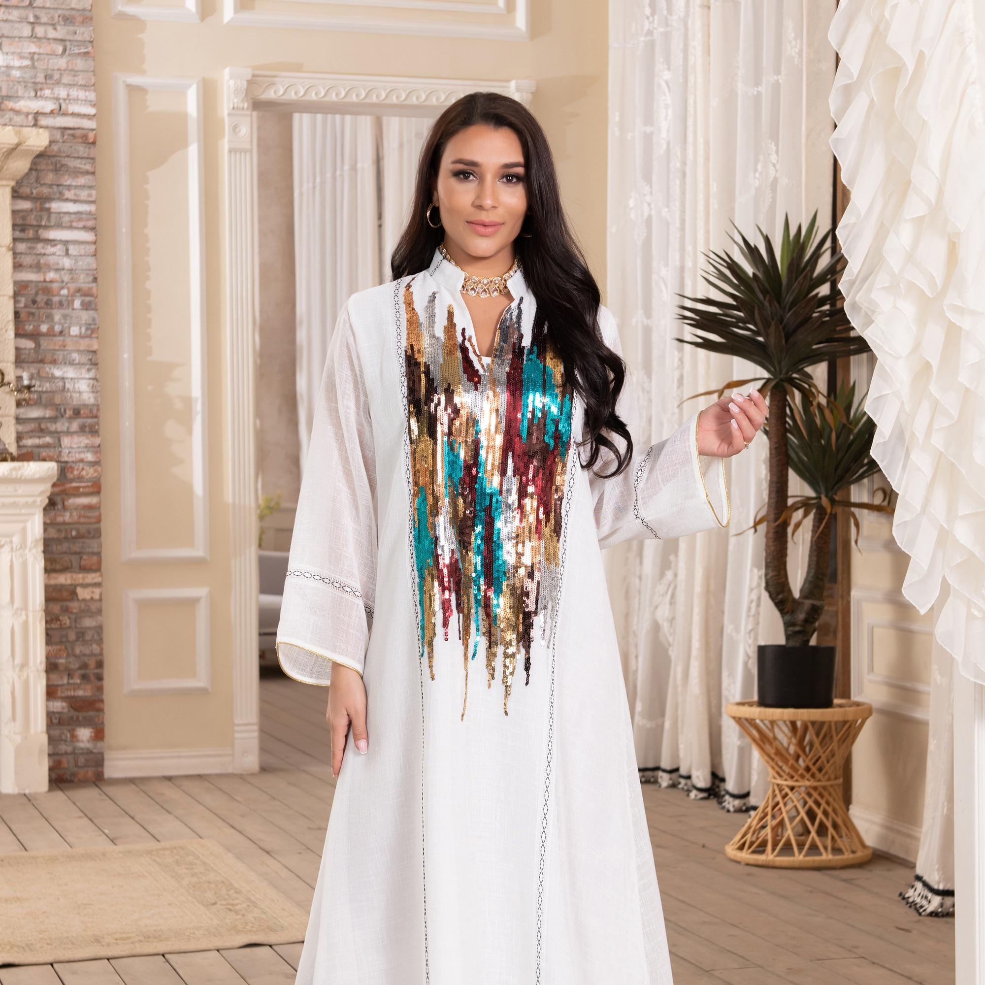 Vestido Abaya para mujer, ropa de noche marroquí, Dubái, Turco árabe, Jalabiya,...