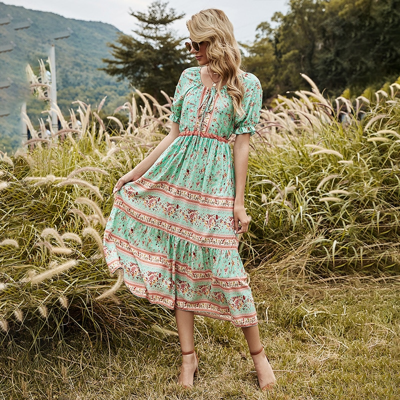 AliExpress - Boho Chic Flare & Fit Long Midi Dress 2021 New Spring Bohemian HIppie Women Outfit Clothing Robe