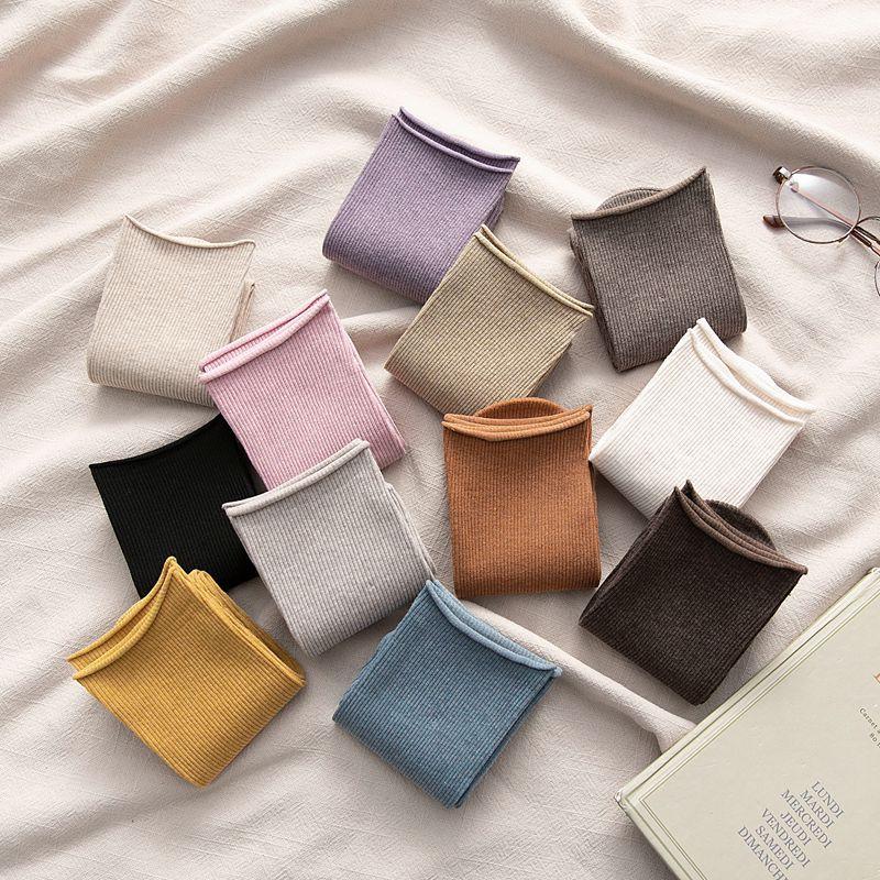 Meias longas mulheres cor moda meias algodão selvagem desodorante conforto breve novo elástico respirável movimento meias