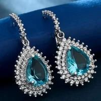 classic teardrop crystal drop dangle earrings with clear cubic zirconia blue water drop earrings for women fashion jewelry