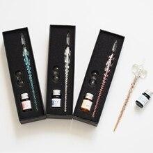 Ensemble de stylo dimmersion en verre de cristal outils décriture de stylo de Signature de plume dencre de Non-carbone