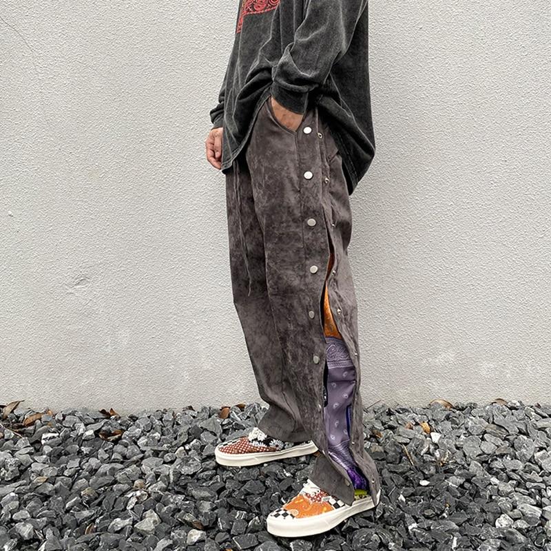 شارع العليا الجانب زر الكاجو طباعة الجلد المدبوغ السراويل الفضفاضة رجالي الرباط مستقيم فضفاض سراويل تقليدية الهيب هوب بنطلون كبير الحجم