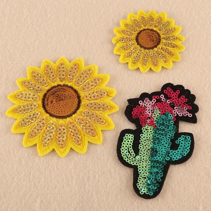 Parches de lentejuelas de girasol, parches bordados de hierro para ropa, DIY, rayas de Cactus en chaqueta de tela, apliques de insignias