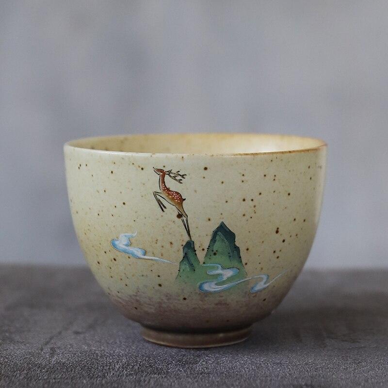 Luwu cerâmica xícara de chá artesanal cervo chinês 90ml
