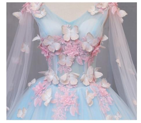 فستان الأميرة من عصر النهضة ، فستان الملكة التنكري ، فراشة الجنية الزرقاء ، تأثيري ثلاثي الأبعاد ، فستان من القرون الوسطى