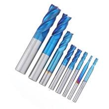 8pcs Blue-nano 2-12mm 4 Flutes Carbide End Mill Set HRC50 Tungsten Steel Milling Cutter Tool New
