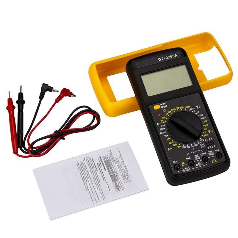 DT9205A multímetro Digital LCD multímetro eléctrico amperímetro resistencia capacitancia Amp Volt Ohm AC/DC probador + Cable sonda