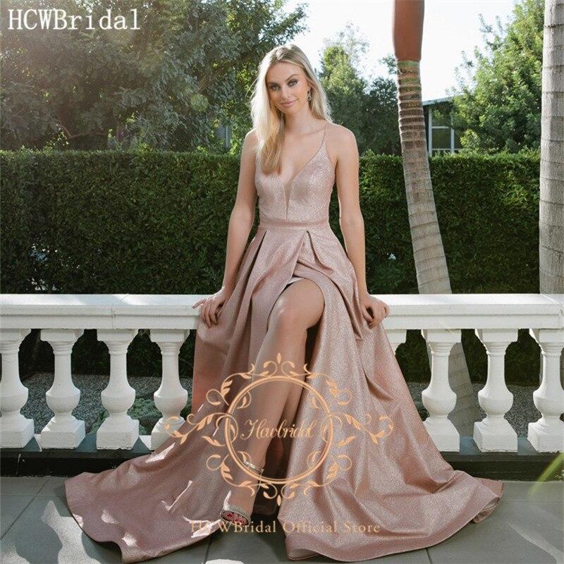 Vestido de noche largo Sexy de color rosa brillante con tirantes finos con espalda al aire libre Sexy vestido de graduación para mujeres de talla grande vestido de fiesta de boda