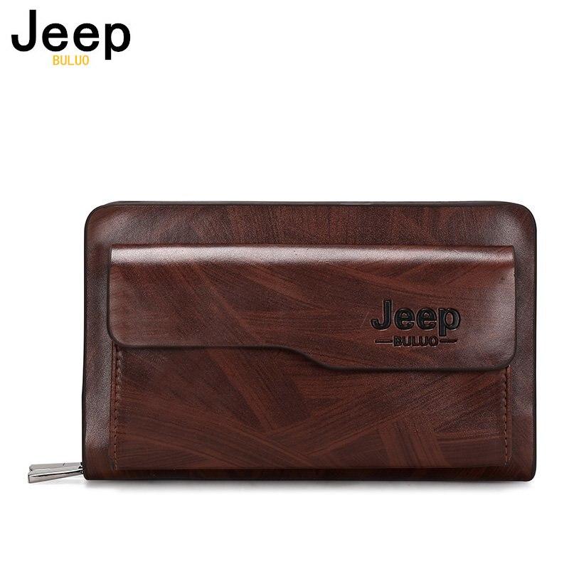 JEEP BULUO New Brand Men Long Wallet Clutch Bag Credit Card Holder Purses Carteira Masculina Cartera