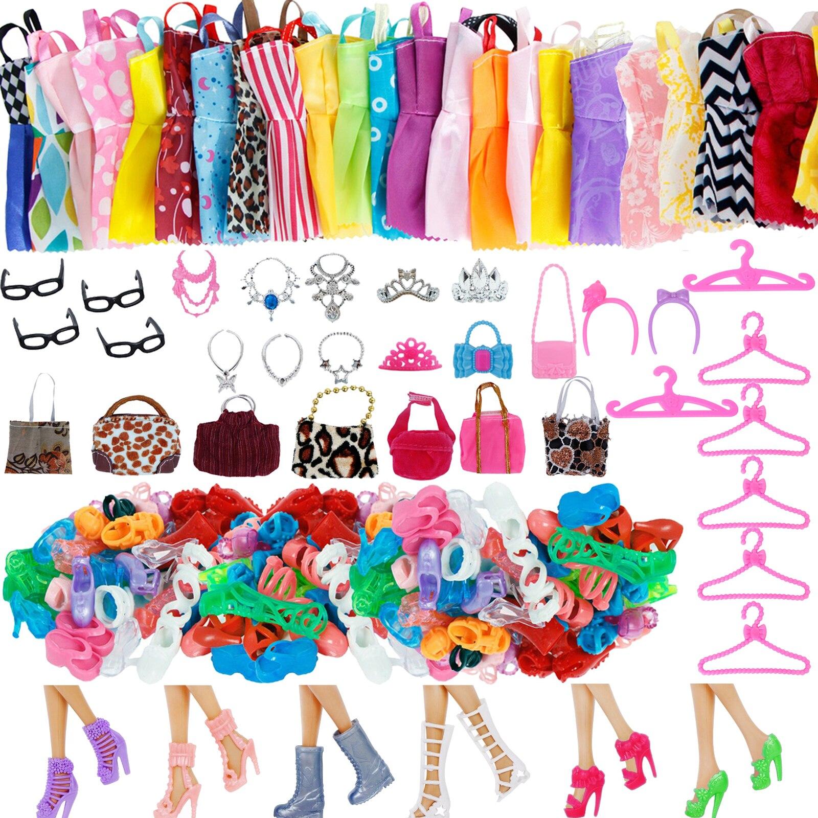 1 набор, аксессуары для кукол, обувь для куклы Барби, сапоги, мини-платье, сумки, вешалки для короны, очки, Одежда для куклы, детская игрушка, 12 дюймов