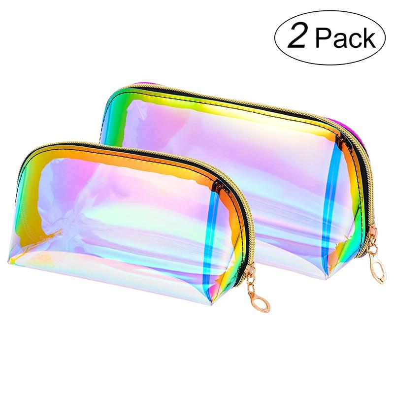 2 Pack Laser Symphony Cosmetic Bag Transparent TPU Travel Toiletry Storage Bag Makeup Cases Bag Travel Organizer Bag Dropship