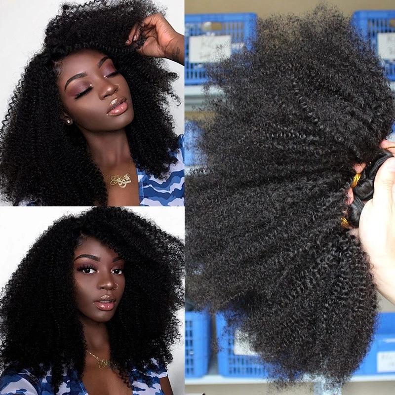 Mongolian Afro Kinky Curly Hair Bundles 100% Human Hair Bundles With Closure 4B 4C Extension Weave Virgin Hair 2 or 3 You May