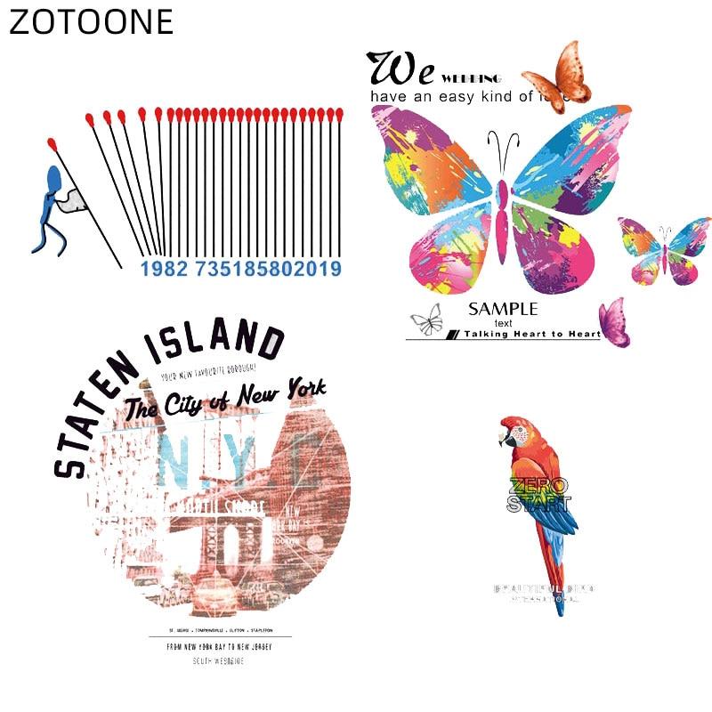 ZOTOONE, parches de hierro en la ciudad de aves, pegatinas de mariposas para ropa, transferencia de calor, parche de letras DIY para niños, apliques de tela de vinilo