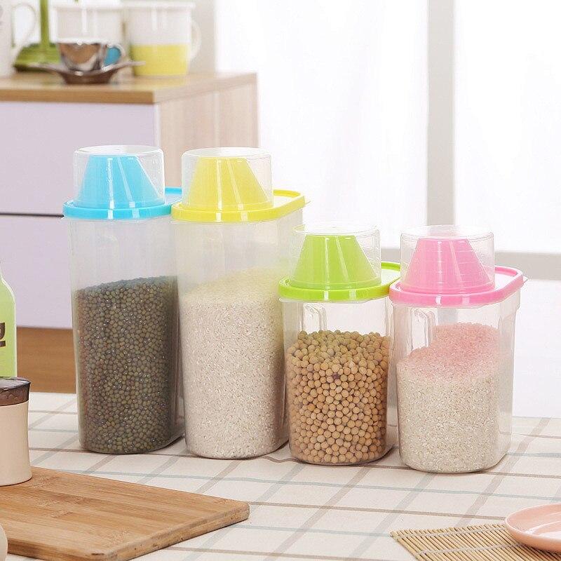 1,9/2.5L caja de almacenamiento dispensadora de cereales de plástico para cocina contenedor de arroz de grano de cocina caja de almacenamiento de arroz de cocina almacenamiento de grano de harina