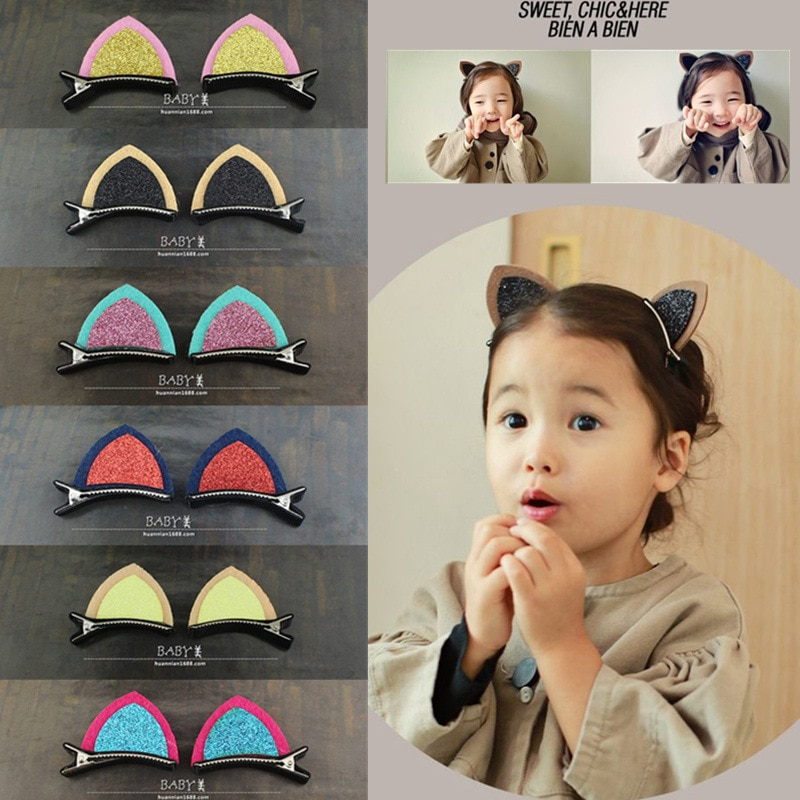 1 шт./компл. Симпатичные конфетные фотозажимы для девочек заколки для волос с кошачьими ушками заколки для детей Детский головной убор для м...