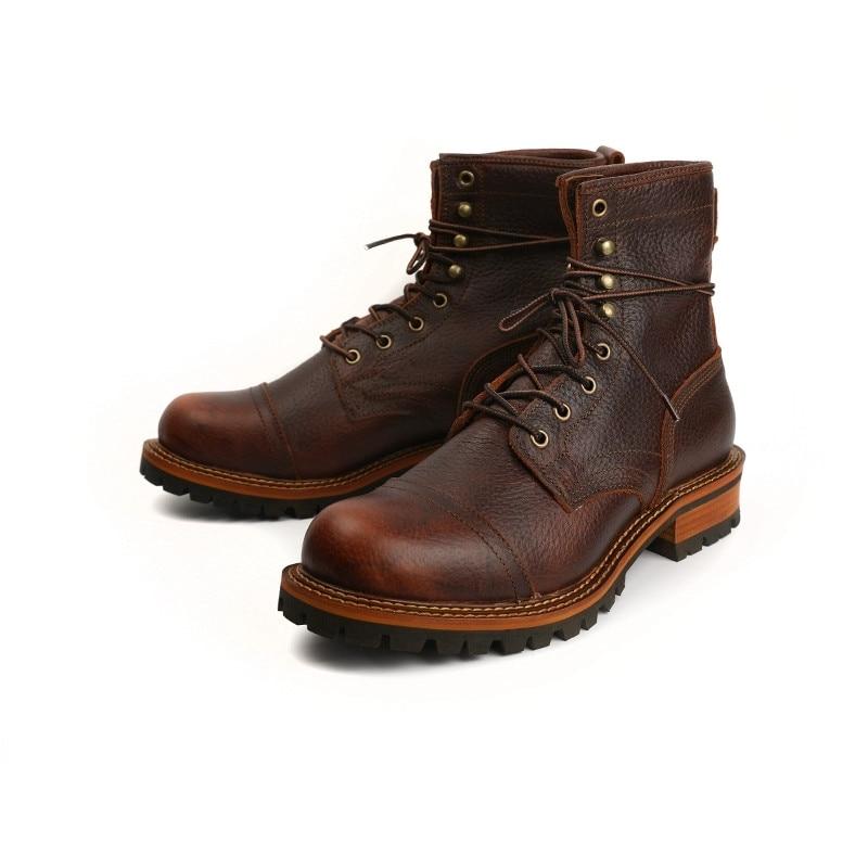 Yomior-أحذية جلدية للرجال مصنوعة يدويًا ، أحذية أمان ، مقدمة مستديرة ، أحذية للدراجات النارية ، الشتاء
