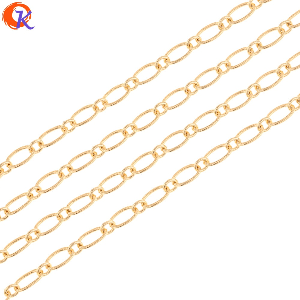 Diseño Cordial 5 m/lote accesorios de joyería/cadena hecha a mano/chapado en oro genuino/forma ovalada/Fabricación de pendientes DIY/hallazgos de joyería