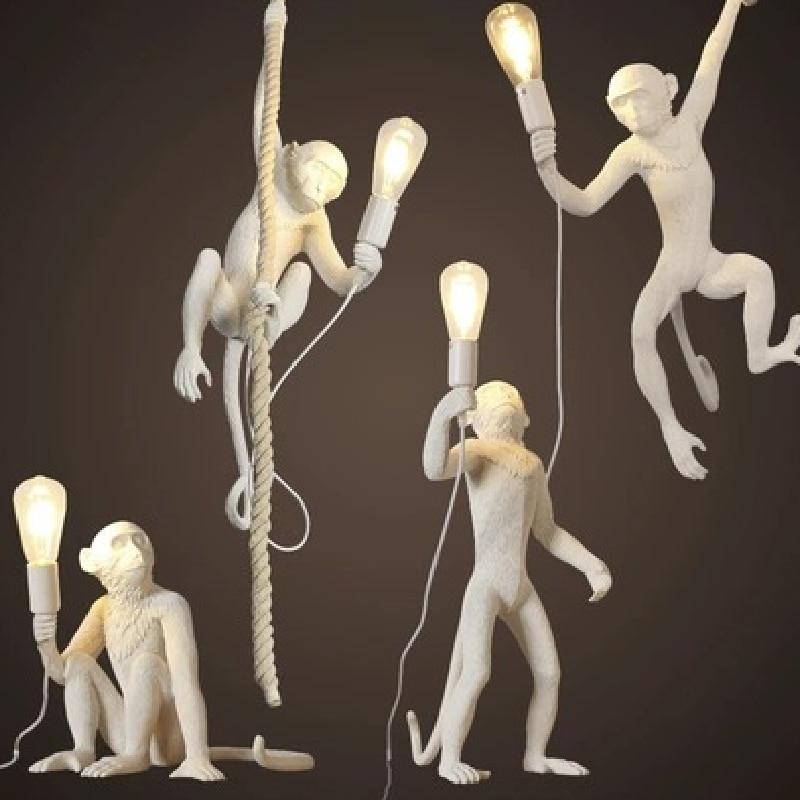 مصباح معلق من الراتينج على شكل قرد ، حبل قنب ، ديكور صناعي للدور العلوي ، مطعم ، بار ، قهوة ، افعلها بنفسك