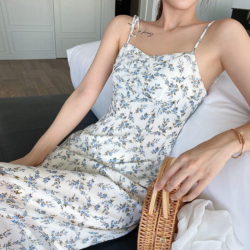 2021 Summer New Korean Floral Sling Chiffon Dress Over the Knee Mid-length Student dress  korean sexy women