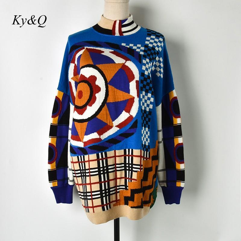 Marca diseñador invierno Navidad mujeres puente sol flor Plaid Longa suéter suelto lujo Vintage cuello alto 2019 nuevo
