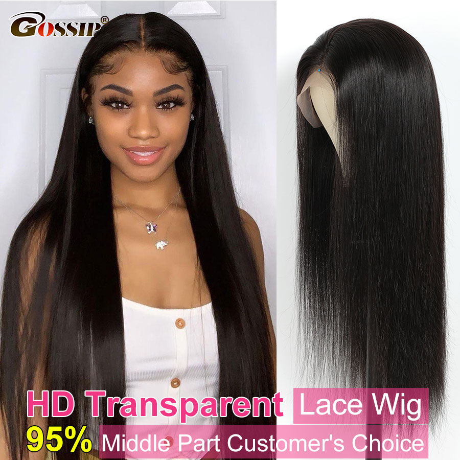 Glueless Straight Lace Front Wig Bone Straight Human Hair Wigs For Women Transparent Lace Frontal Wi