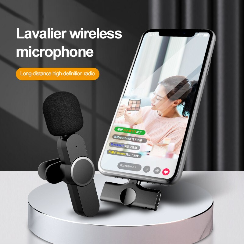Wireless Microphone Lavalier Lapel Microphone Interview Microphone For IPhone Android Phone IPad DSLR PC Laptop Youtube Live enlarge