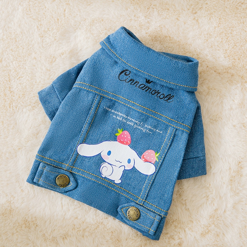 2021 New Cartoom Designer Dog Clothes Fashion Denim Chihuahua Costume Lovely Casual Jeans Cat Outfits Pet Apparel Ropa Perro