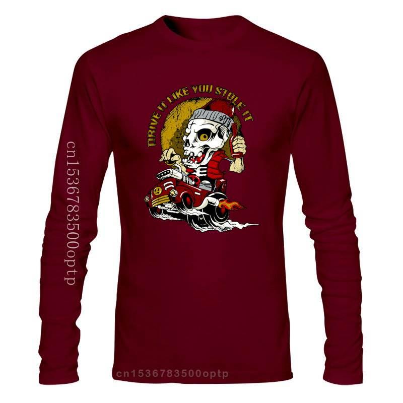 New 2021 Summer Tee shirt T-Shirt DRIVE IT LIKE YOU STOLE IT SKULL HOT ROD OLD SCHOOL BIG BLOCK V8 S-3XL Custom T-shirt