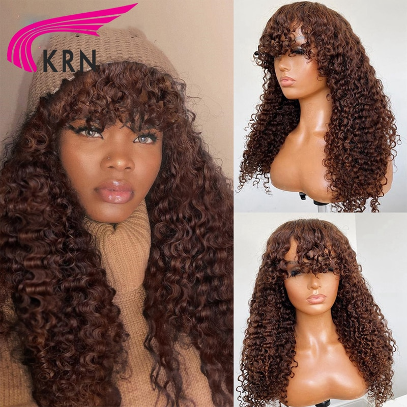 200 Density Brown Curly Human Hair Wigs Full Machine Made Wig With Bangs Remy Brazilian Curly Human Hair Wigs For Women