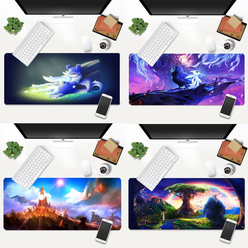 900x400mm Ori and the blind forest Laptop Computer Mousepad Animation XL Large Gamer Keyboard PC Desk Mat Takuo Tablet Mousepads