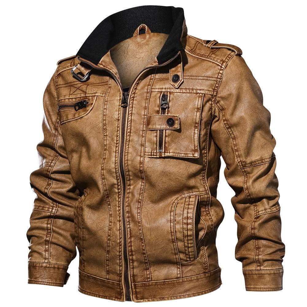 رجل بولي PU سترة جلدية معطف الرجال الخريف الشتاء الرجعية دراجة نارية جاكيتات خارجية فو الجلود سترة القمم معطف الذكور حجم كبير 6XL