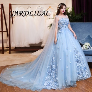 2021 NewWomen's  Long Tulle Evening Dresses With Train  Scoop Applique 3D Flower Princess Gowns Juniors Borthday Party Dresses