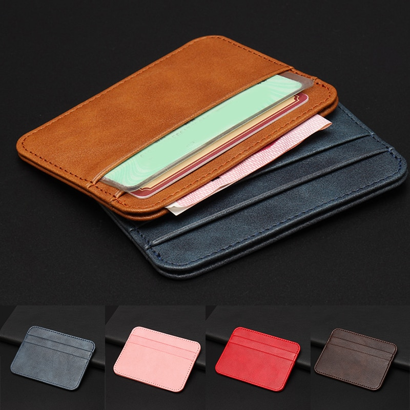 5 Card Slots PU Leather Card Case Money Clip Mini Wallet Coin Purse Antimagnetic Bank Business Card Holder Certificate Folder stylish protective pu leather case w card holder slots for iphone 5 pink