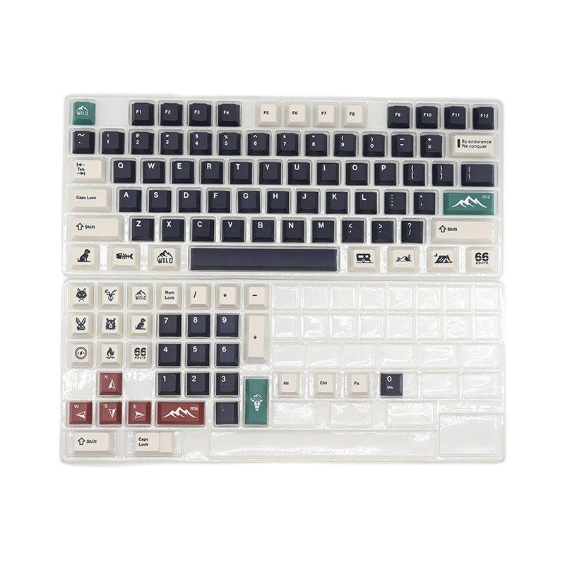 Клавиши для клавиатуры Wild PBT, механическая клавиатура с вишневым профилем, сублимационная печать, совместима с переключателями MX, 110 клавиш