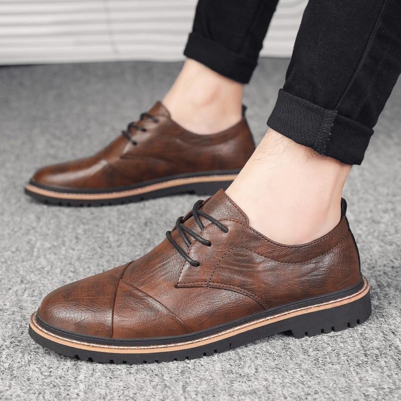 Brand Men Oxfords Shoes British Style Men Genuine Leather Business Formal Shoes Dress Shoes Men Flat