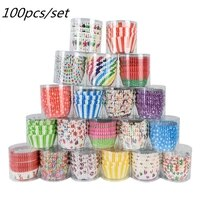 100pcs colorful cake cup paper cupcake muffin baking tools diy birthday cakes wedding party home kitchen supplies cupcake decor