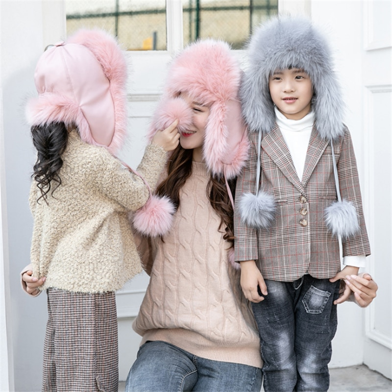Toddler Baby Girl Fur Cotton Ushanka Winter New Solid Windproof Bomber Hat for Boy Cute Warm Childre