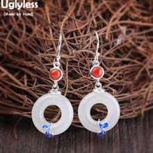 Uglyless Klassieke Vrede Gesp Drop Oorbellen voor Vrouwen Jade Cirkel Oorbellen Etnische Enamel Brincos Agaat 925 Zilveren Sieraden E1497