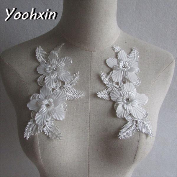¡Producto en oferta! Aplique de encaje blanco con bordado de flores, aplique de tela para costura, cinta de guipur DIY, adorno para escote, decoración para bodas artesanal