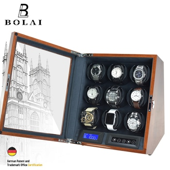 Luxury 9 Slot Automatic Watch Winder LCD Control Watches Storage Brown Glossy Lacquer Battery Powered Wooden Watch Box Gift