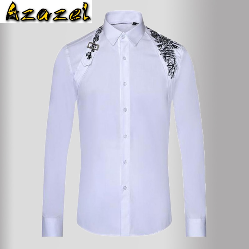 Azazel الأبيض قمصان رجالي فاخرة طويلة الأكمام عالية الكثافة التطريز فستان رجالي قمصان معدنية زر سليم صالح عادية قمصان الذكور